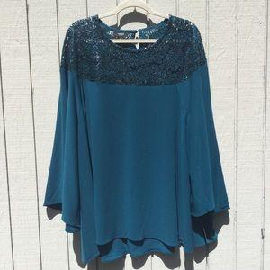NWT blue sequin Alfani blouse